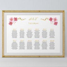 Sitzplan / Tischplan  Allison  personalisiert, individuell, rosa, weiss