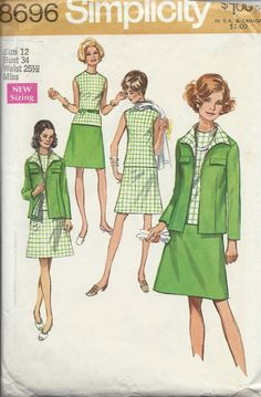 Simplicity Pattern # 8696 - Uncut Pattern - All Pieces Present Dated: 1970 Size: 12 -Bust 34 -Waist: 25 1/2 -Hip: (measured 9 below waistline) - 36 -Back