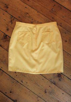 60s style mellow yellow mini skirt  Reworked by LaundryDayApparel, £6.00