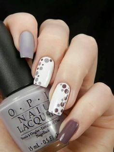 Plum, White, Gray, Dotted Nails