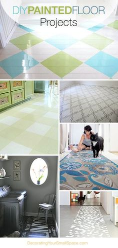 DIY Painted Floor Projects • Ideas & Tutorials! This is a fantastic way to inexpensively take care of floors that are in rough shape!