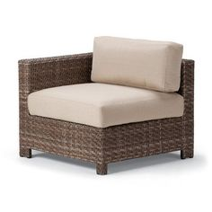 Telescope Casual La Vie End Chair with Cushion (Set of 2) Finish: Java Wicker, Fabric: Canvas Brick