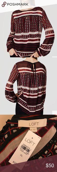 NWT! Loft Square striped lantern sleeve blouse BRAND NEW! Square striped lantern sleeve blouse LOFT Tops Blouses