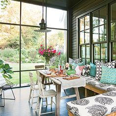 Colors, charcoal/black/natural wood. Modern Cottage Porch - 25 Bright Ideas for Outdoor Dining   Southern Living