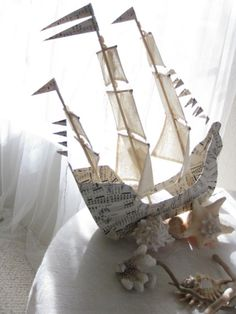 Sailing Ship with three masts Paper Mache handmade