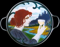 Carl Sigmund Luber, tray with Art Nouveau maiden, glazed earthenware, metal frame