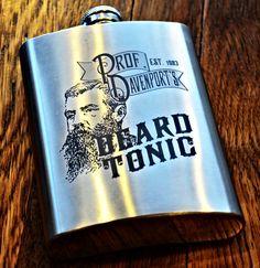 Flask - Custom Engraved Personalized Beard Tonic Or Elixir Flask. $22.50, via Etsy.