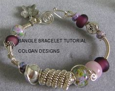 TUTORIAL  Wire wrapped coil bangle bracelet with Lampwork beads Step-by-Step instructions on Etsy, $8.00
