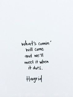 Ask Lara - Germ Magazine --- Hagrid Quotes, Facts and Wisdom on Dream, Life and Future Harry Potter Quote - Hagrid - J. What's coming will come and we'll meet it when it does Hagrid Harry Potter lo que vendrá vendrá y lo encontraremos cuando lo haga Pretty Words, Beautiful Words, Cool Words, Great Quotes, Quotes To Live By, Super Quotes, For Her Quotes, Awesome Quotes, Change Quotes