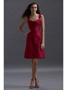 Dupioni Sweetheart Draped Bodice Knee-Length Bridesmaid Dress