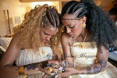 """'Ethiopian Bridal Braids'  Even the """"headband"""" is their braided hair!"""