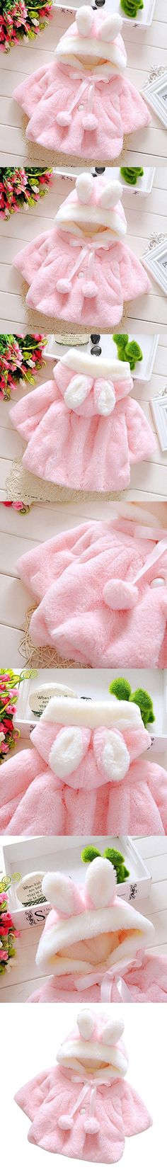 Binmer(TM) Baby Infant Girls Fur Winter Warm Coat Cloak Jacket Thick Warm Clothes (12M, Pink)
