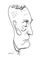 Caricatura de Azorín, por Damián Flores Llanos