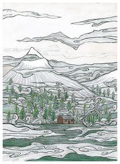"""noc W Noc Chodzę Po Wietrze"" (polish Title), Watercolor/black Pen, 21x29cm"