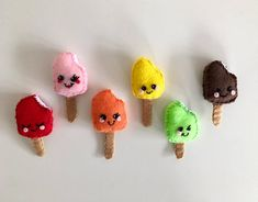 Felt food popsicle, ice lolly, creamsicle, play prentend, children's kitchen food, kawaii