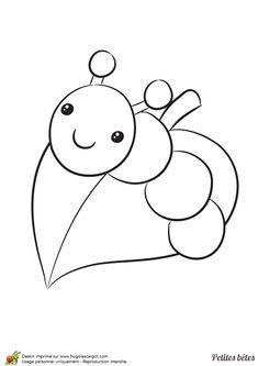 Une petite chenille sur une feuille, dessin à colorier