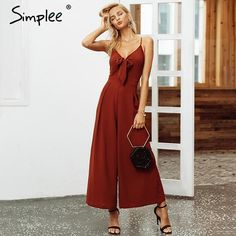 c63696b303e Simplee Bow tie adjustable women jumpsuit Elegant solid spring 2019 long  jumpsuit Chic wide leg casual