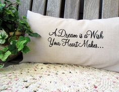 A Dream Is A Wish Your Heart Makes Linen Lumbar Pillow Embroidered Disney Pillow Cover Disney Quote Cinderella Quote