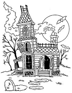 Halloween Coloring Pages.  Love me some coloring!! haunted house