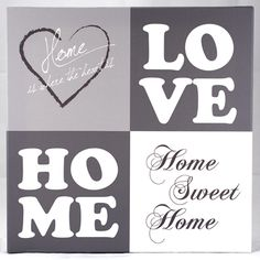 Tekst op canvas: Love Home