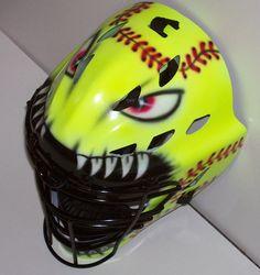 Airbrushed Mean Ball SOFTBALL Catchers Helmet by tonysairbrush sooooooo cool Softball Helmet, Softball Bows, Softball Quotes, Softball Catcher, Softball Pictures, Girls Softball, Baseball Mom, Softball Things, Softball Stuff
