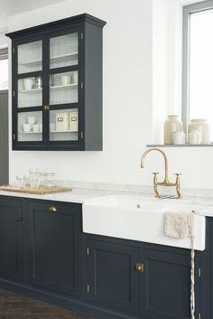 cupboards painted in 'Pantry Blue' in deVOL's new London showroom