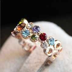 Colorful Multicolored Hollowed Out Gold Tone Ring Material: Alloy & Colorful Cubic Zirconia Rhinestone Crystal Jewelry Rings