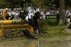 2012 Andrew Hoy & Rutherglen leap into the Head of the Lake on Cross-Country, photo by: Michelle Dunn.