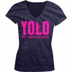 YOLO Neon Pink Design You Only Live Once Juniors V-Neck T-shirt Hot Trendy Lyrics Design YOLO Y.O.L.O Juniors V-neck Tee Shirt Medium Navy