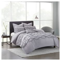 Grey Carlisle 100% Cotton Solid Pieced Comforter Set (Full/Queen) 7pcs