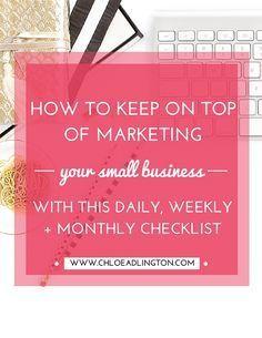 Marketing Tasks Checklist — CHLOE ADLINGTON