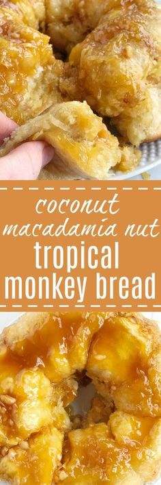 This easy, no yeast needed tropical monkey bread is loaded with Hawaiian flavors! Flaky, buttery rolls covered in coconut pudding, macadamia nuts, coconut, sugar, and pineapple. Prepare the night befo