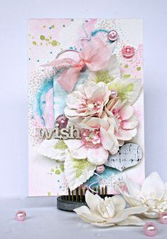 Use Prima flowers and layer with lots of mist, beautiful patterned paper, ribbon and more to create a stunning handmade card that your recipient will love to display! -- Scrapbook.com