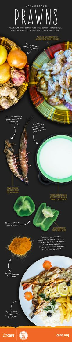 recipe for mozambican prawns; CARE A TASTE OF MOZAMBIQUE - Recipes to End Global Hunger care.org Chef's Table Prawn, Easy Meals, Chef's Table, Suppers, Dining, Chefs, Recipe Ideas, Recipes