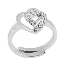 Silver Double Heart Ring made with SWAROVSKI® ELEMENTS