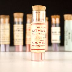 Vintage Glass Vial of Litmus Paper, Red Paper, Red Label (c.1940s)