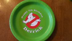 """Personalized Parties PlusGhostbusters plates and cups 8ctThese Ghostbusters plates and cups say """"Happy (age) birthday (name"""") and have the Ghostbusters logo in the center.    What comes with this order:  8 Dinner Paper plates with weatherproof personalized labels.  8 Paper cups    Plate and cup colors:  Green  Red  Black        HOW TO ORDER YOUR PLATES AND CUPS:  1. Purchase this item and complete checkout.    2. It usually takes 1 week to ship. Please let me know if you need i"""