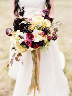 Jewel toned florals: http://www.stylemepretty.com/2014/11/24/french-countryside-wedding-inspiration/ |  Photography: DeFiore Photography  - www.defioreart.com