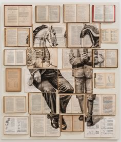 Russian artist Ekaterina Panikanova buys old books in bulk, flings open their pages then paints them with old-fashioned surrealist scenes of badgers doing gymnastics, gateaus riding pushbikes – and a springbok jumping over a candlestick. It all looks familiar, and yet, uncanny