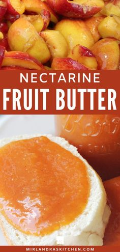 This nectarine spice butter is easy to make and lovely to have all winter long. Store it in the fridge or can it for winter.  All stone fruit makes wonderful fruit butter but nectarine is a favorite of mine! This recipe makes a great Christmas gift in jars.  #homemade #easy #fruit #gift