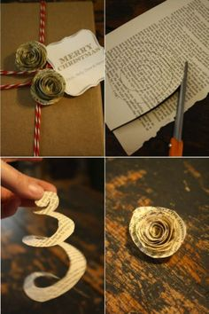 Madeleine G madeleinegamber Geschenkverpackungen roosje van papier - Roosje Van Papier . Newspaper Flowers, Paper Flowers Diy, Diy Paper, Fabric Flowers, Old Book Crafts, Book Page Crafts, Newspaper Crafts, Vintage Sheet Music, Vintage Sheets