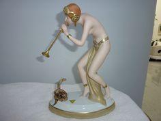 RARE Art Deco Royal Dux Porcelain Figurine of Snake Charmer w Cobra
