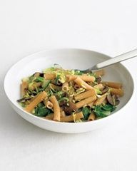 Sauteed Brussels sprouts and mushrooms seasoned with lemon zest and tossed with chewy whole-wheat pasta makes a quick, healthy meal. (used GF pasta instead of WW)