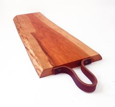 Cherry Live Edge Cutting & Serving Board w/ Leather by GRAINHAUS
