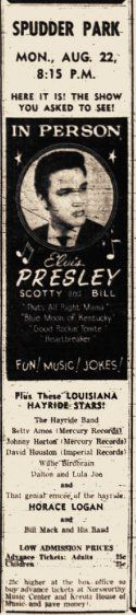 Elvis played his second concert in Wichita Falls at Spudder Park on August 22, 1955 Tickets were 25 cents in advance and fifty cents at the door! #wichitafallscvb