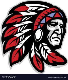 vector of chief mascot head Native American Warrior, Native American Images, Mascot Design, Logo Design, Chiefs Mascot, Pierre Brice, Arte Steampunk, Western Saloon, Native Tattoos
