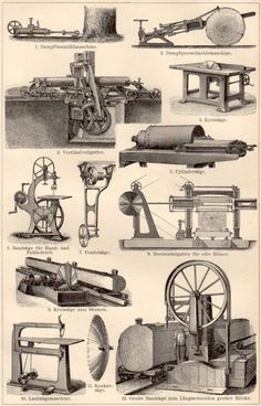 1898 Old Machinery Antique Print Vintage Lithograph by Craftissimo, €12.95