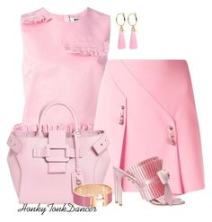 A fashion look from May 2017 featuring MSGM, pink skirt and bow shoes. Browse and shop related looks. Pink Fashion, Fashion Looks, Pink Garden, Bow Shoes, Roger Vivier, Pink Outfits, Msgm, Ruffles, Bows