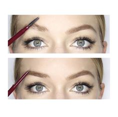 When filling in your #brows start by brushing up hair with your #spoolie to reveal sparse areas then fill in using delicate strokes for a natural effect