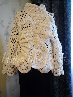 """Crocheting on the Edge"" by Nicky Epstein, p.185; Burda moden 10/2005 mod.117  Irena T combined  Shawl and pattern"